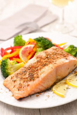 roasted salmon fish fillet with vegetable